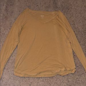 Yellow v neck long sleeve